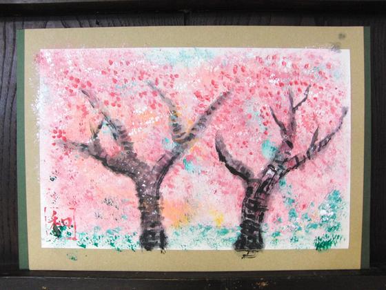 絵画 ~ 桜屏風 ~_e0222340_15432540.jpg