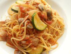 3/30本日パスタ:豚肉とズッキーニのトマトソース・スパゲティ_a0116684_12202997.jpg