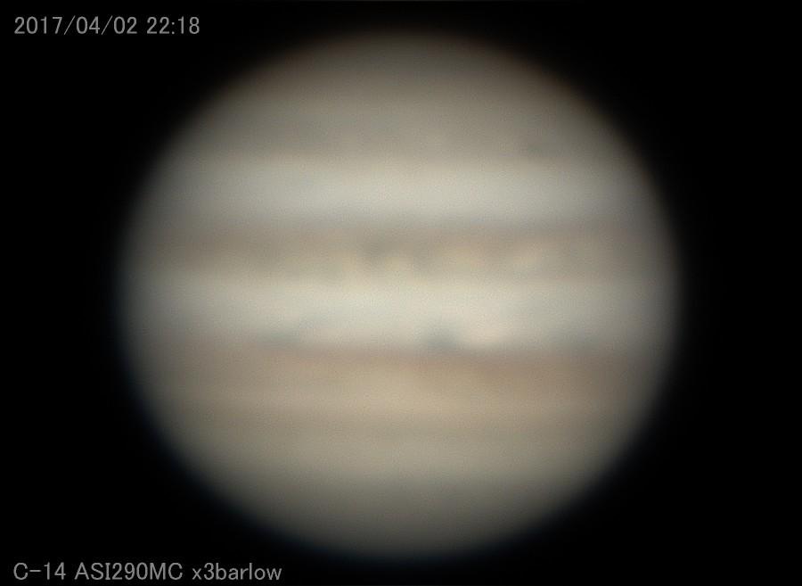昨日の木星:天気はいいがシーイングがひどく悪い_a0095470_21282854.jpg