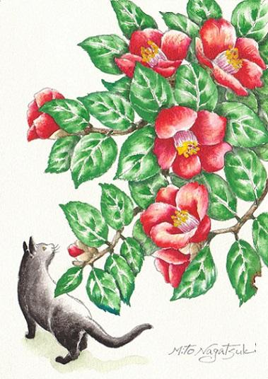 椿と猫の水彩画_b0089338_1472478.jpg