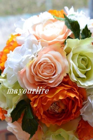 結婚式にラウンドブーケ_d0169179_22475626.jpg