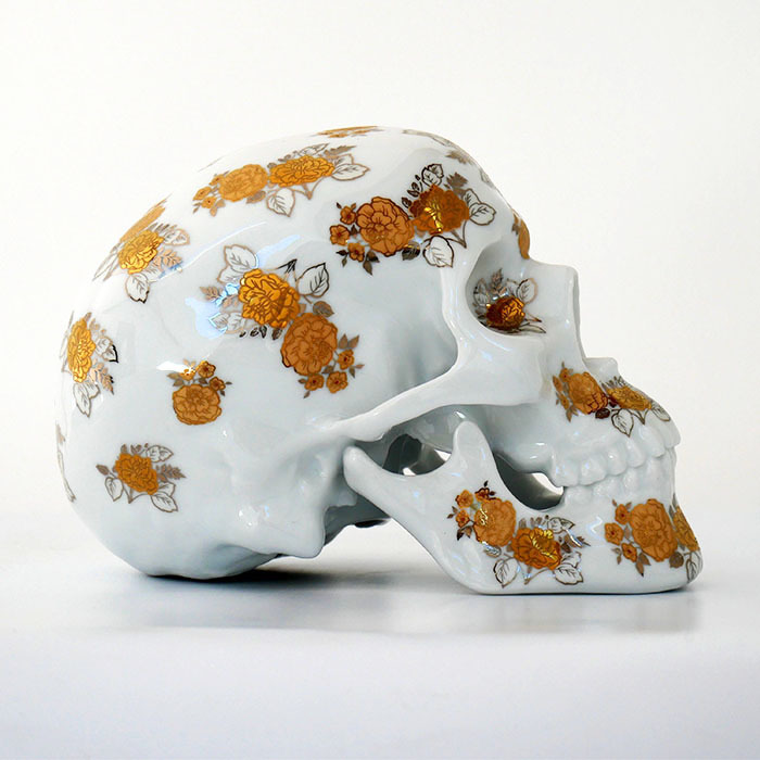 Skull Gold Flowers Porcelain by Noon_e0118156_15231835.jpg