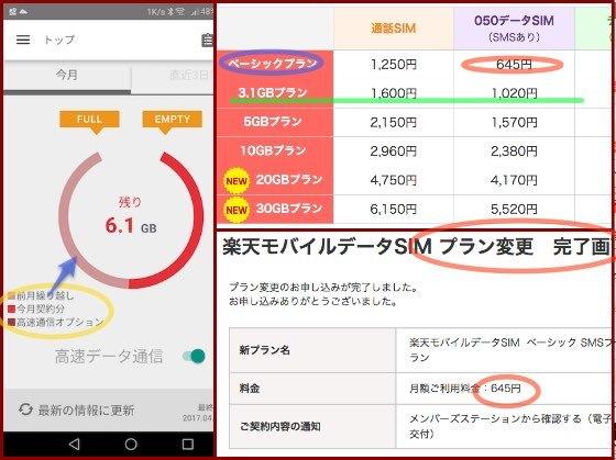 楽天モバイル契約変更 月1,020円→645円_c0063348_19303219.jpg