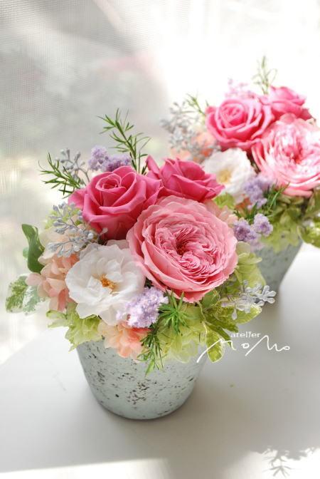 ピンクローズの華やかアレンジ!_a0136507_06561956.jpg