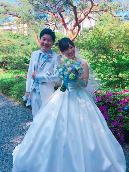 新郎新婦様からのメール 青と紫のクラッチブーケ 八芳園さまへ_a0042928_10251549.jpg