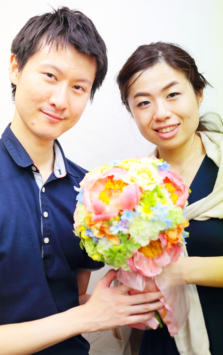 クラッチ風仕立てのブーケ、八芳園の新郎新婦様へ、翌日に押し花に _a0042928_2123143.jpg