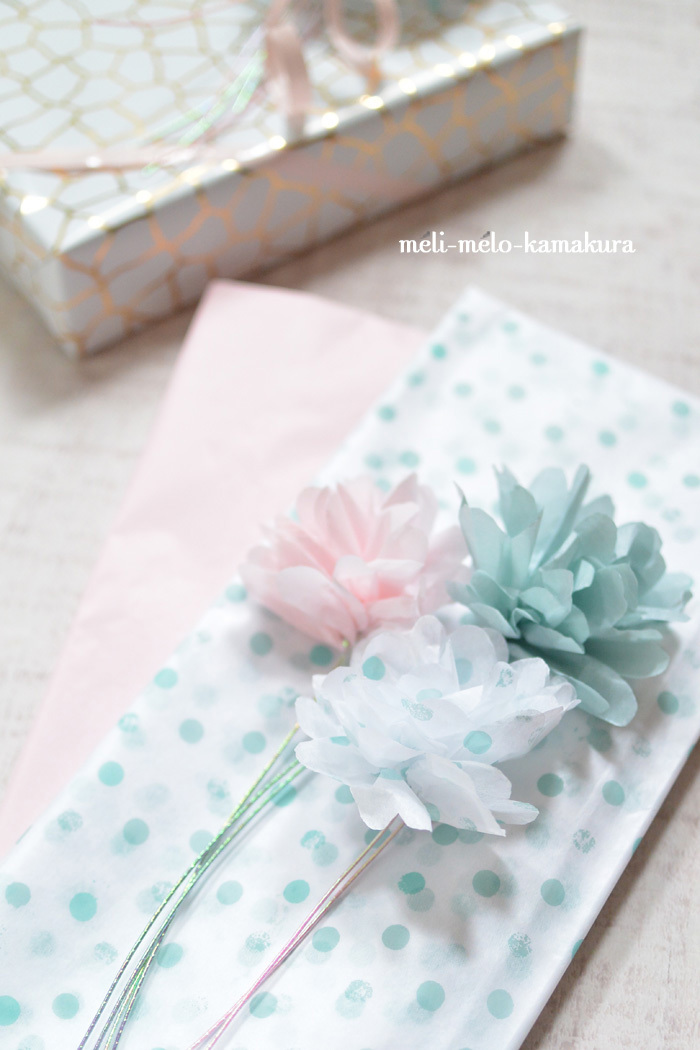 ◆ラッピング*薄紙で作るカーネーション♪_f0251032_13535773.jpg