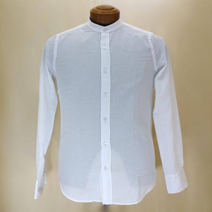 CIT LUXURY チット・ラグジュアリー メッシュコットン バンドカラーシャツ ( ホワイト )_c0118375_10334498.jpg