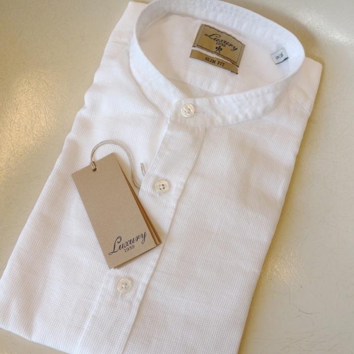 CIT LUXURY チット・ラグジュアリー メッシュコットン バンドカラーシャツ ( ホワイト )_c0118375_10341205.jpg