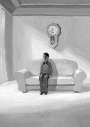 小説すばる 阿刀田高さん連載小説第9回「白い部屋」扉絵と文中挿絵_b0194880_02441505.jpg