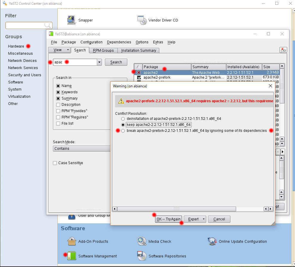 YaST (yast2) による SUSE Linux のパッケージ管理, インストールと削除_a0056607_16142032.jpg