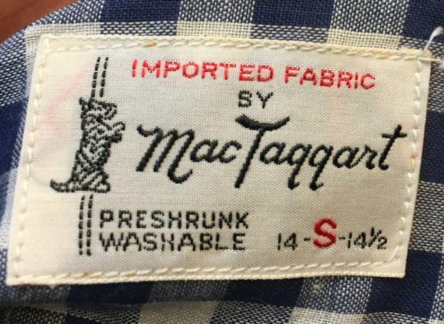 6月3日(土)入荷!デッドストック 60s Mac Taggart ギンガム チェック シャツ!_c0144020_16122565.jpg