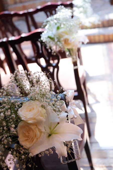 初夏の装花 ザ・ハウス白金様へ ひまわりと新緑の卓上装花_a0042928_14485522.jpg