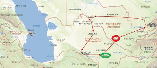 トルクメニスタンの旅(21) マリィからウズベキスタンのブハラへ移動_c0011649_09361272.png