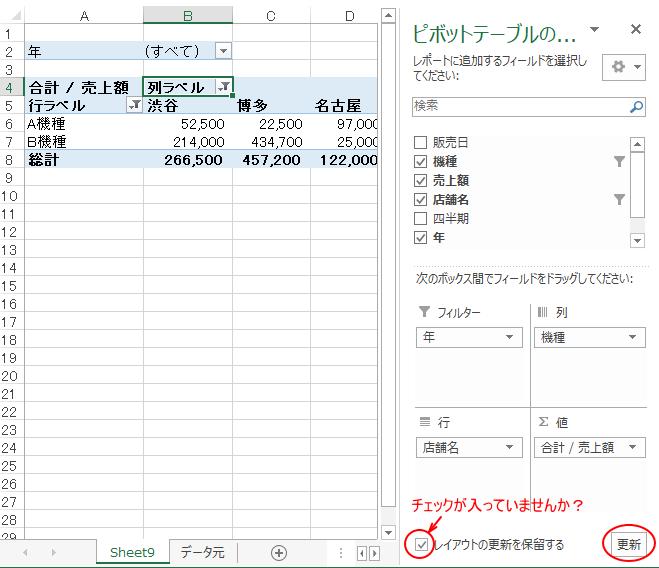 ピボットテーブルのフィールドリストを移動させてもテーブルに反映されないとき_a0030830_21191049.png