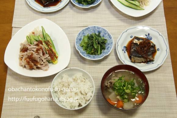 鮭のおにぎり弁当&豚しゃぶの梅だれ_c0326245_11245455.jpg