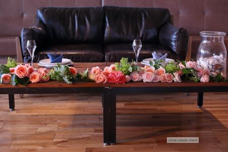 クラッチブーケとソファテーブル装花、恵比寿アトレのレストランへ_a0042928_35310100.jpg