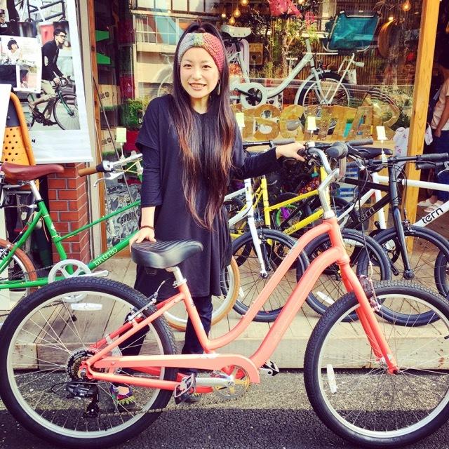 ☆今日のバイシクルガール☆ 自転車女子 自転車ガール ミニベロ クロスバイク ライトウェイ トーキョーバイク シュウイン ラレー ブルーノ おしゃれ自転車 マリン_b0212032_14500539.jpg