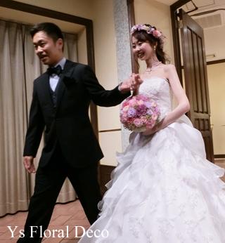 ピンク&ラベンダーのお色直しドレスに 花冠&リストレット _b0113510_16075798.jpg
