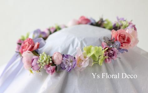 ピンク&ラベンダーのお色直しドレスに 花冠&リストレット _b0113510_16080622.jpg