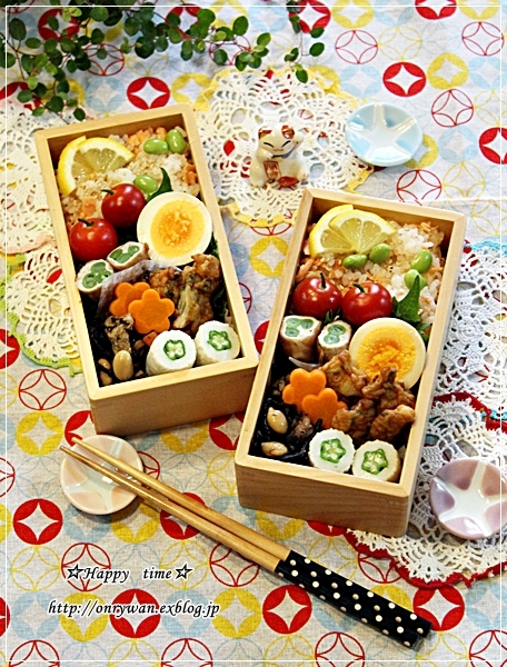 鮭と枝豆の混ぜご飯弁当とおうちごはん♪_f0348032_17451973.jpg