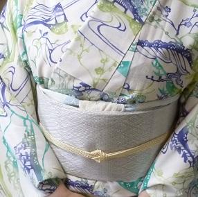 染結城紬単衣+まいづる羅紗織袋帯+加藤萬絞り帯揚_f0181251_1919518.jpg