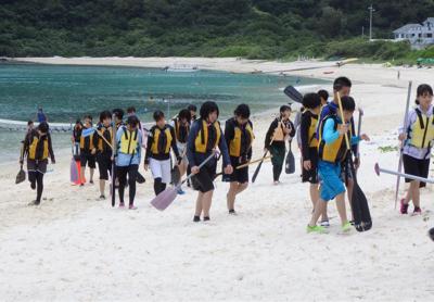サンゴの移植に挑戦  沖縄だより15 - 平洲中NOW29