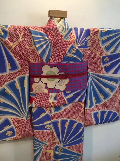 明日から!新宿京王「今昔きもの市」赤鹿の子水色扇着物♪販売商品24_c0321302_12442689.jpg