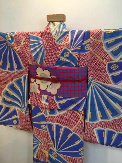 明日から!新宿京王「今昔きもの市」赤鹿の子水色扇着物♪販売商品24_c0321302_12444347.jpg