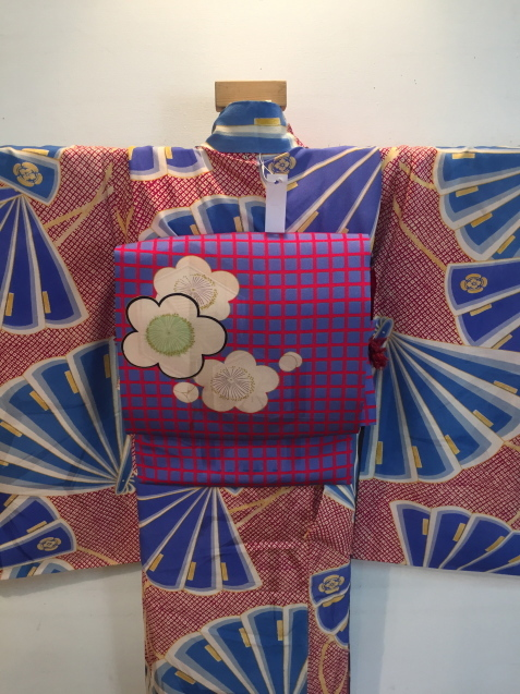 明日から!新宿京王「今昔きもの市」赤鹿の子水色扇着物♪販売商品24_c0321302_12454969.jpg