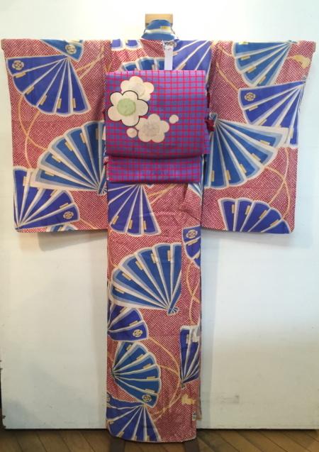 明日から!新宿京王「今昔きもの市」赤鹿の子水色扇着物♪販売商品24_c0321302_12460197.jpg