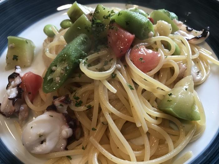 タコと夏野菜のペペロンチーノ_e0252173_20341100.jpg