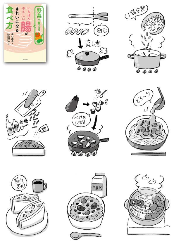 【単行本】『野菜で整える いちばんやさしい腸がきれいになる食べ方』のイラストを描きました。_d0272182_21444727.jpg