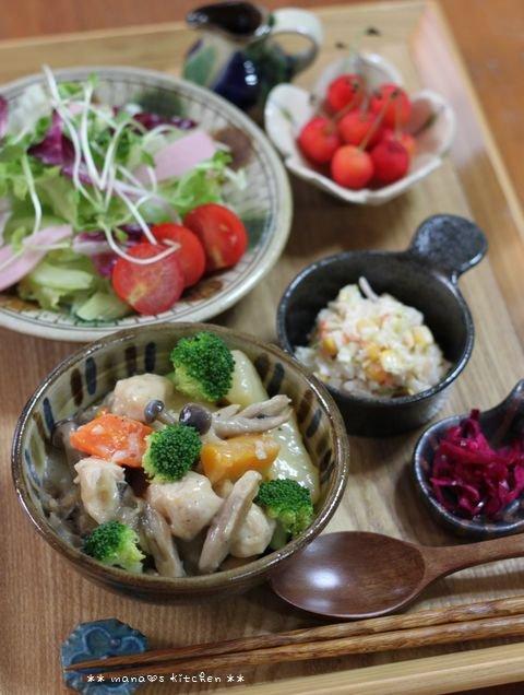 コチュチキ&コーンバターごはん ✿ ササミと根菜類のクリーム煮♪_c0139375_1220812.jpg