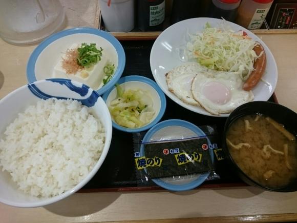 7/22  ソーセージエッグダブル定食¥450 + ライス大盛¥60@松屋_b0042308_07062070.jpg