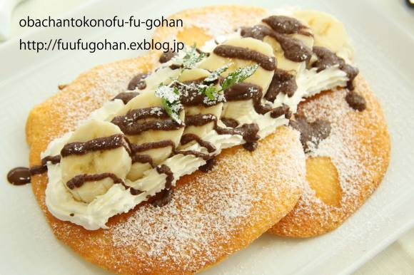 チョコバナナスフレパンケーキ作ったの~_c0326245_12103564.jpg