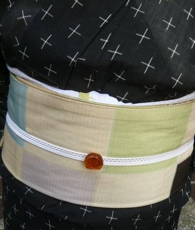 上七軒ビアガーデンのお客様・能登上布に絽の染め帯。_f0181251_11415343.jpg