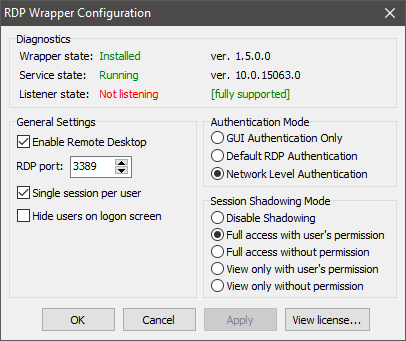 "RDP Wrapper はHome版では動作しなくなったようです。\""Listener state: Not listening\""_e0051410_10163109.png"