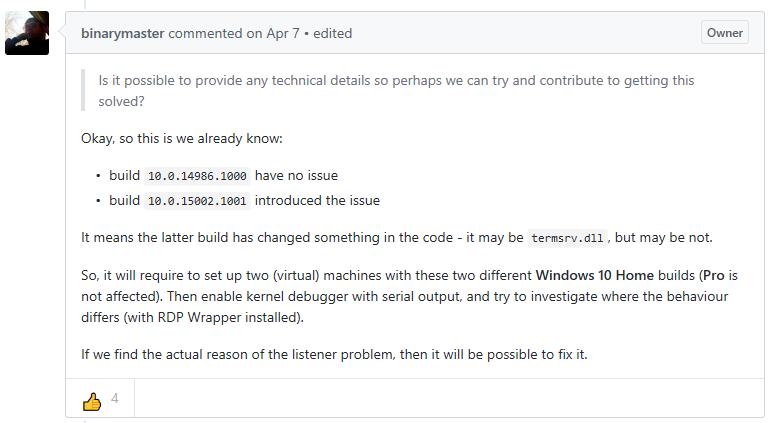 "RDP Wrapper はHome版では動作しなくなったようです。\""Listener state: Not listening\""_e0051410_10213698.png"