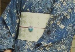 上七軒ビアガーデンのお客様・竺仙 奥州小紋に半巾帯_f0181251_19191093.jpg