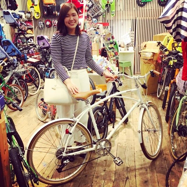 ☆今日のバイシクルガール☆ 自転車女子 自転車ガール ミニベロ クロスバイク ライトウェイ トーキョーバイク シュウイン ラレー ブルーノ おしゃれ自転車 マリン_b0212032_17473461.jpg
