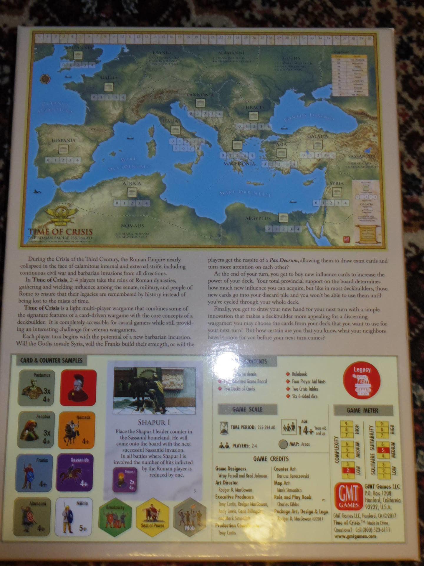 ローマ人の物語Ⅻ 「混迷する帝国」を、そのまま4人用マルチゲームにしたような...(GMT)Time of Crisis_b0173672_19341888.jpg