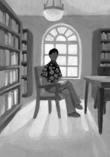 小説すばる 阿刀田高さん連載小説第11回「だれかを探して」扉絵と文中挿絵/小説誌挿絵_b0194880_01314272.jpg