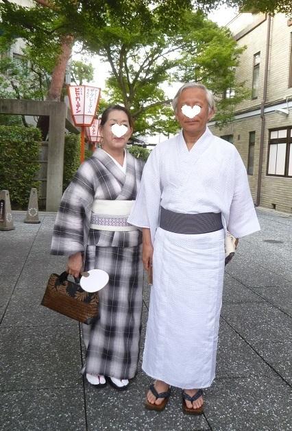 上七軒ビアガーデン・小千谷縮・麻の着物のご夫妻のお客様_f0181251_12534615.jpg