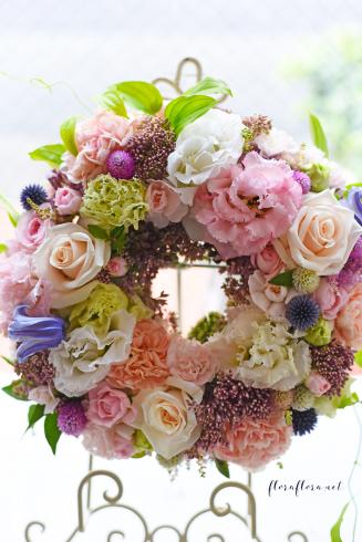 お花のサマーリース 7月のフローラフローラちいさな花の教室 * 東京目黒不動前フラワースクール_a0115684_21554542.jpg
