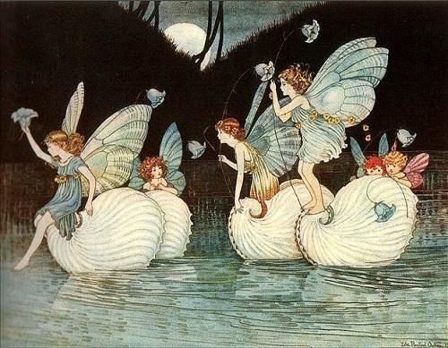 イダ・レントール・アウスウェイト画のタコブネに乗る妖精たち_c0084183_16411542.jpg