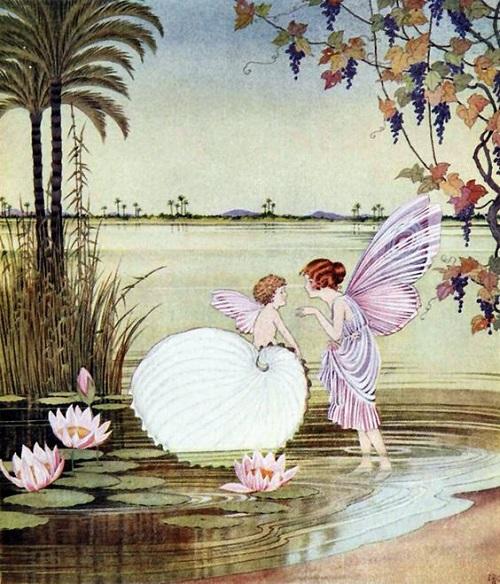 イダ・レントール・アウスウェイト画のタコブネに乗る妖精たち_c0084183_16415021.jpg