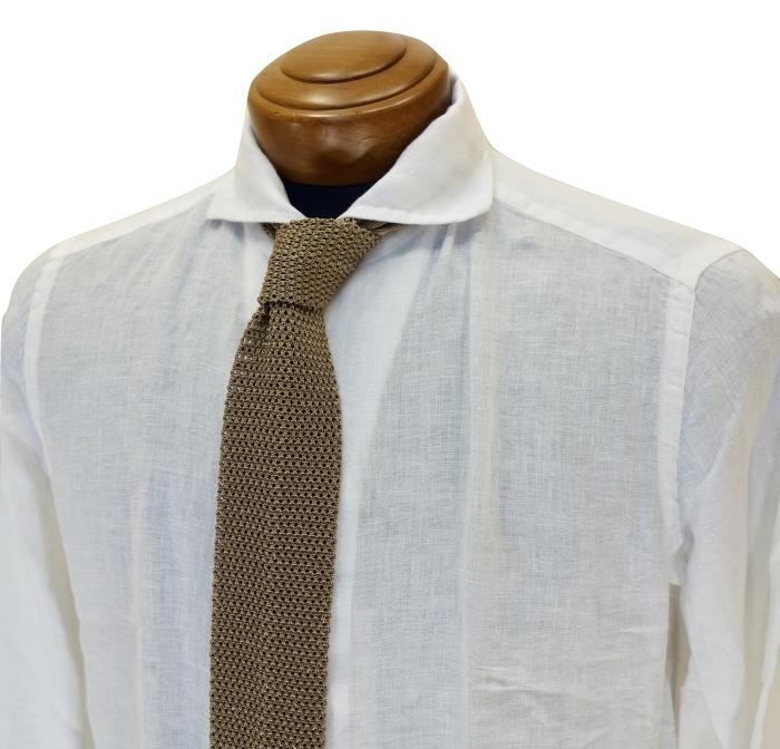 CIT LUXURY チット・ラグジュアリー リネンイタリアンカラーシャツ GNICO ホワイト・カーキ_c0118375_12401226.jpg