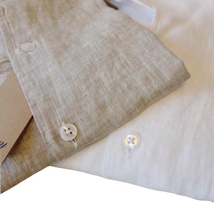CIT LUXURY チット・ラグジュアリー リネンイタリアンカラーシャツ GNICO ホワイト・カーキ_c0118375_12550456.jpg