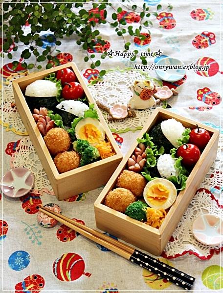 おにぎり弁当と桃で酵母作り♪_f0348032_18120765.jpg